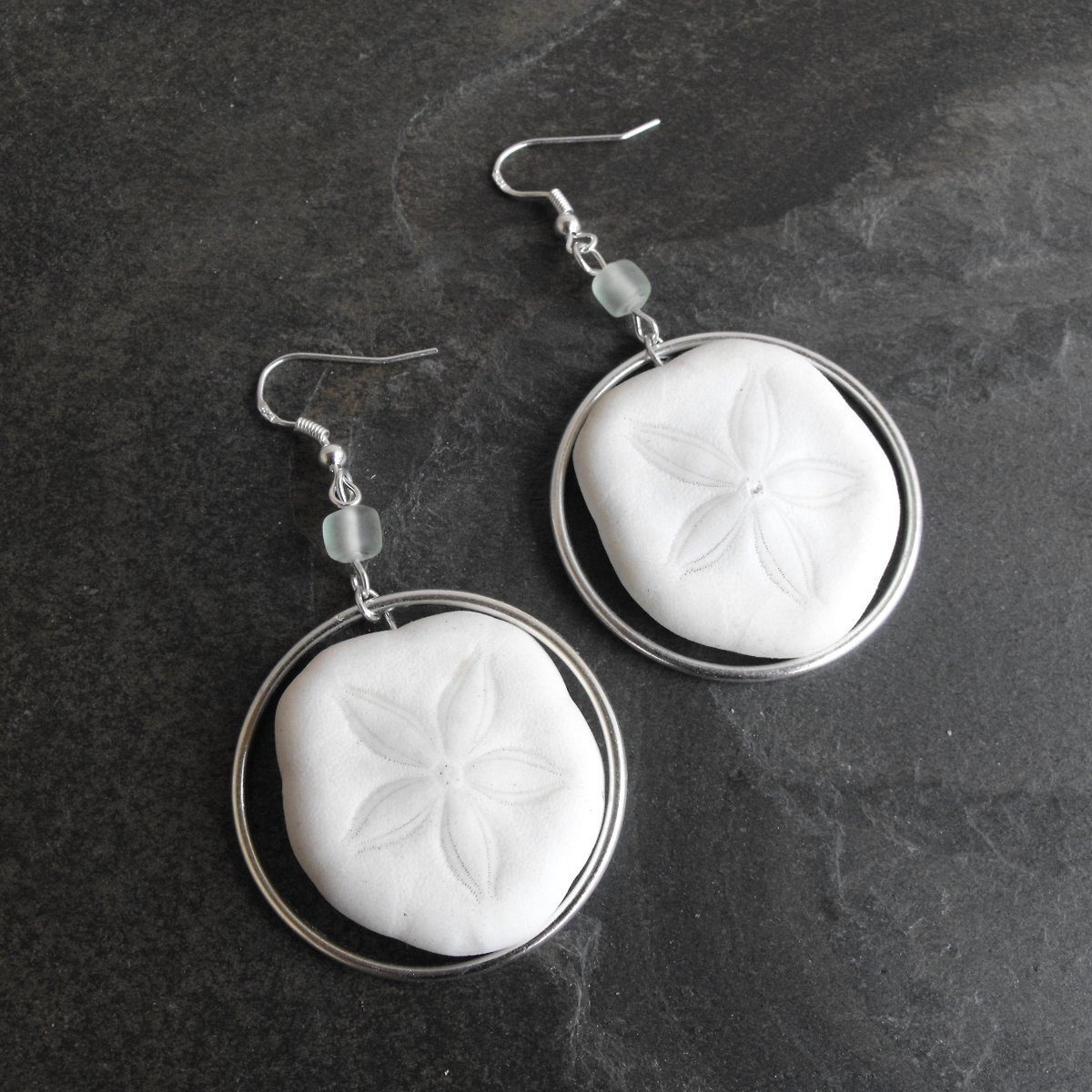 Natural Beach Sand Dollar Earrings - Reserved