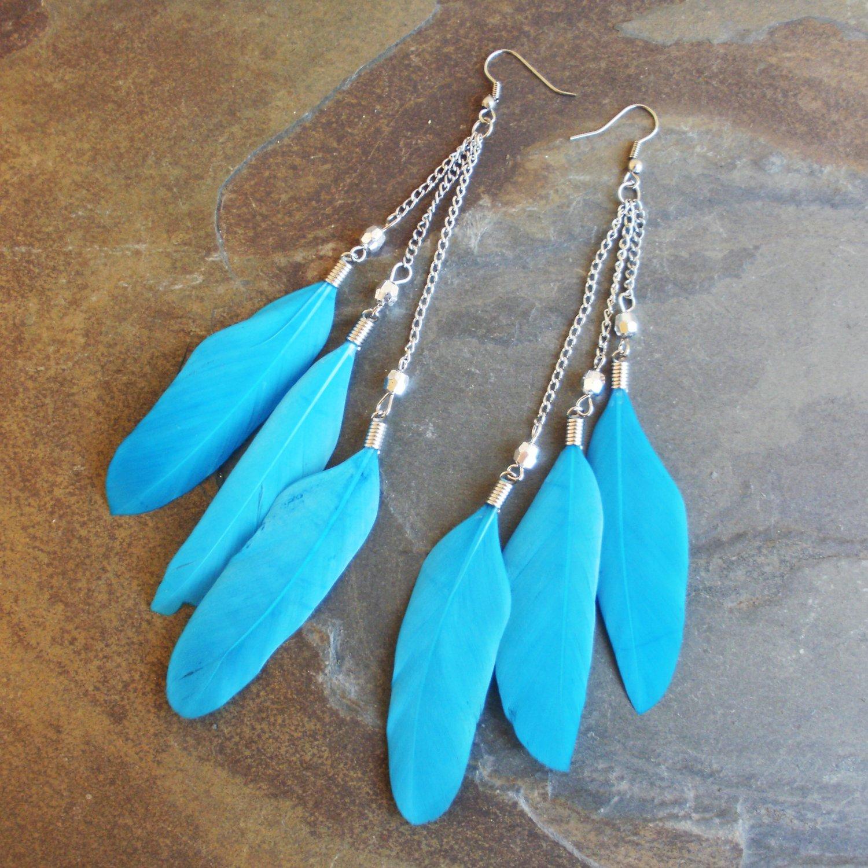 Blue 3 Tier Dangle Feather Earrings Super Long 8 Inch