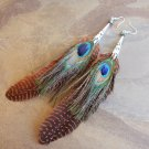 Peacock Feather Earrings Extra Long Blue Green Brown 8 Inch