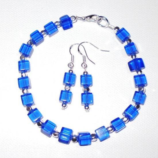 Cobalt Blue Glass Cube Bracelet And Earrings