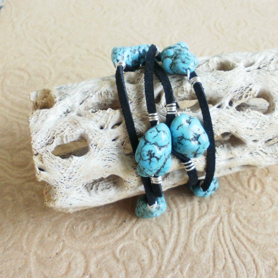 Turquoise Nugget Leather Wrap Bracelet