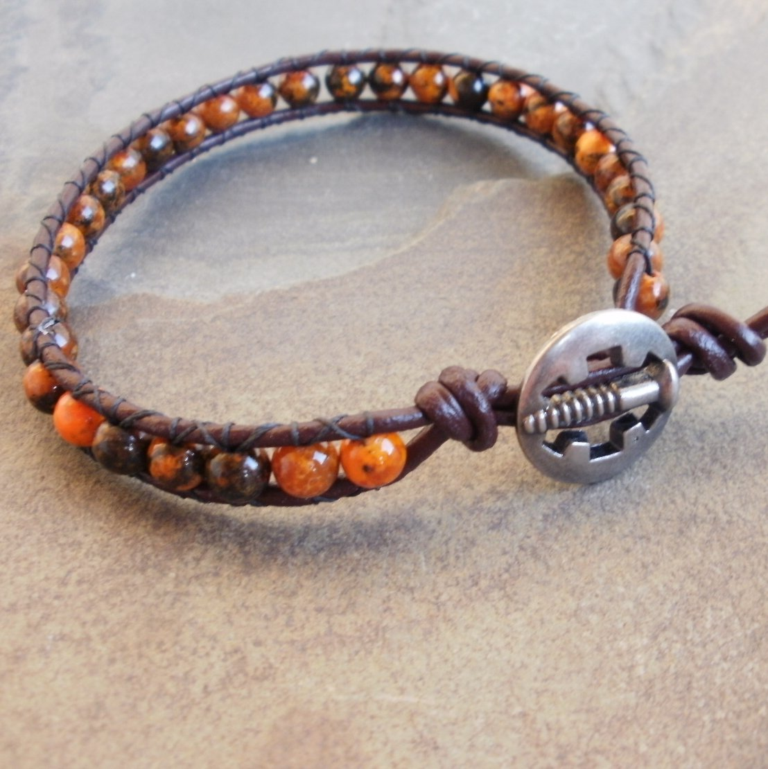 Mens Sea Jasper Beaded Leather Wrap Surfer Bracelet