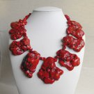 Mona III - Super Chunky Natural Freeform Red Turquoise Slab Statement Necklace