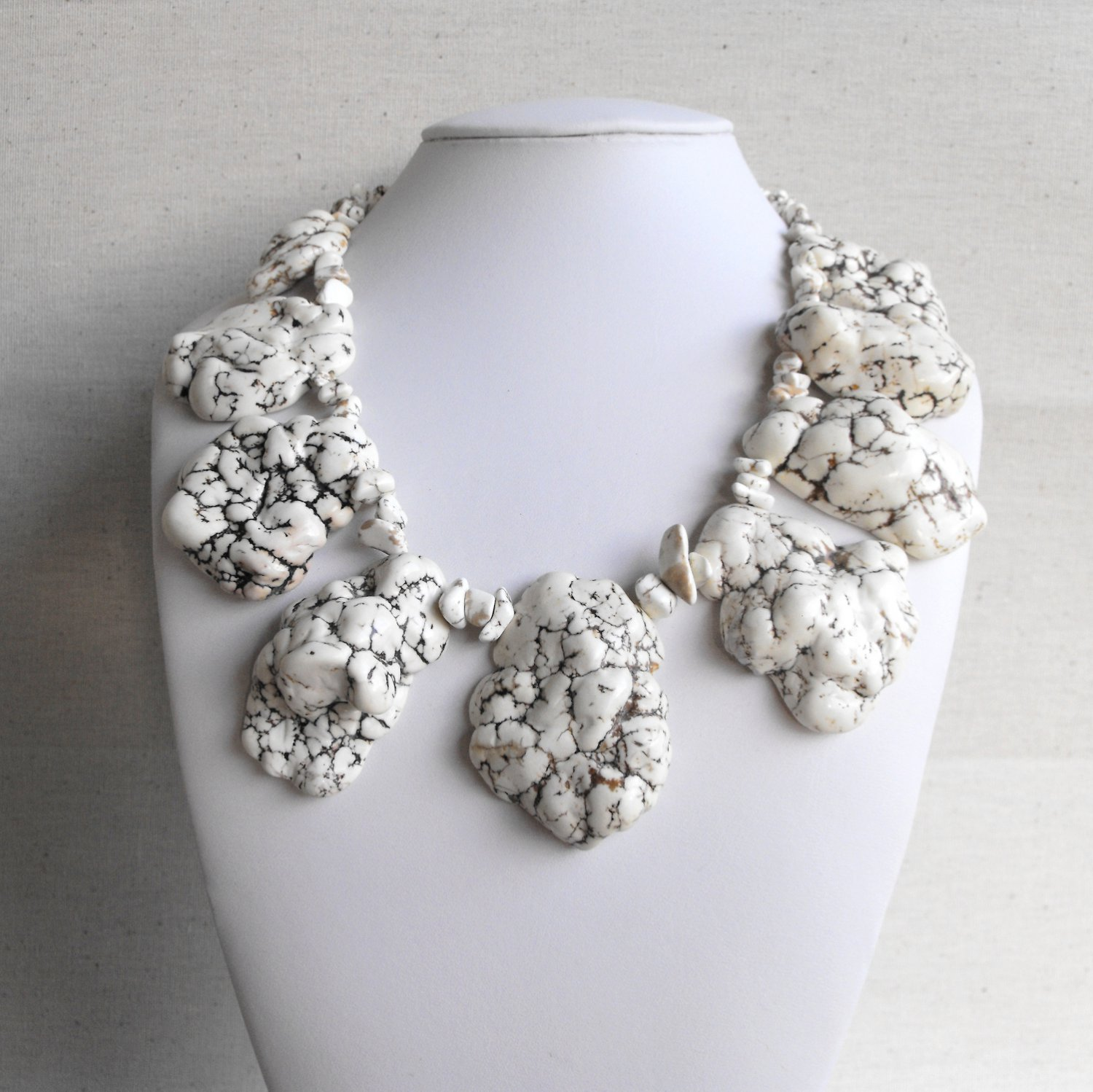 Corinna III - Super Chunky Natural Freeform White Beige Turquoise Slab Statement Necklace