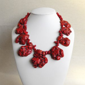 Mona II - Super Chunky Natural Freeform Red Turquoise Slab Statement Necklace