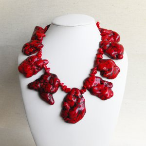 Verona - Super Chunky Natural Freeform Red Turquoise Slab Statement Necklace