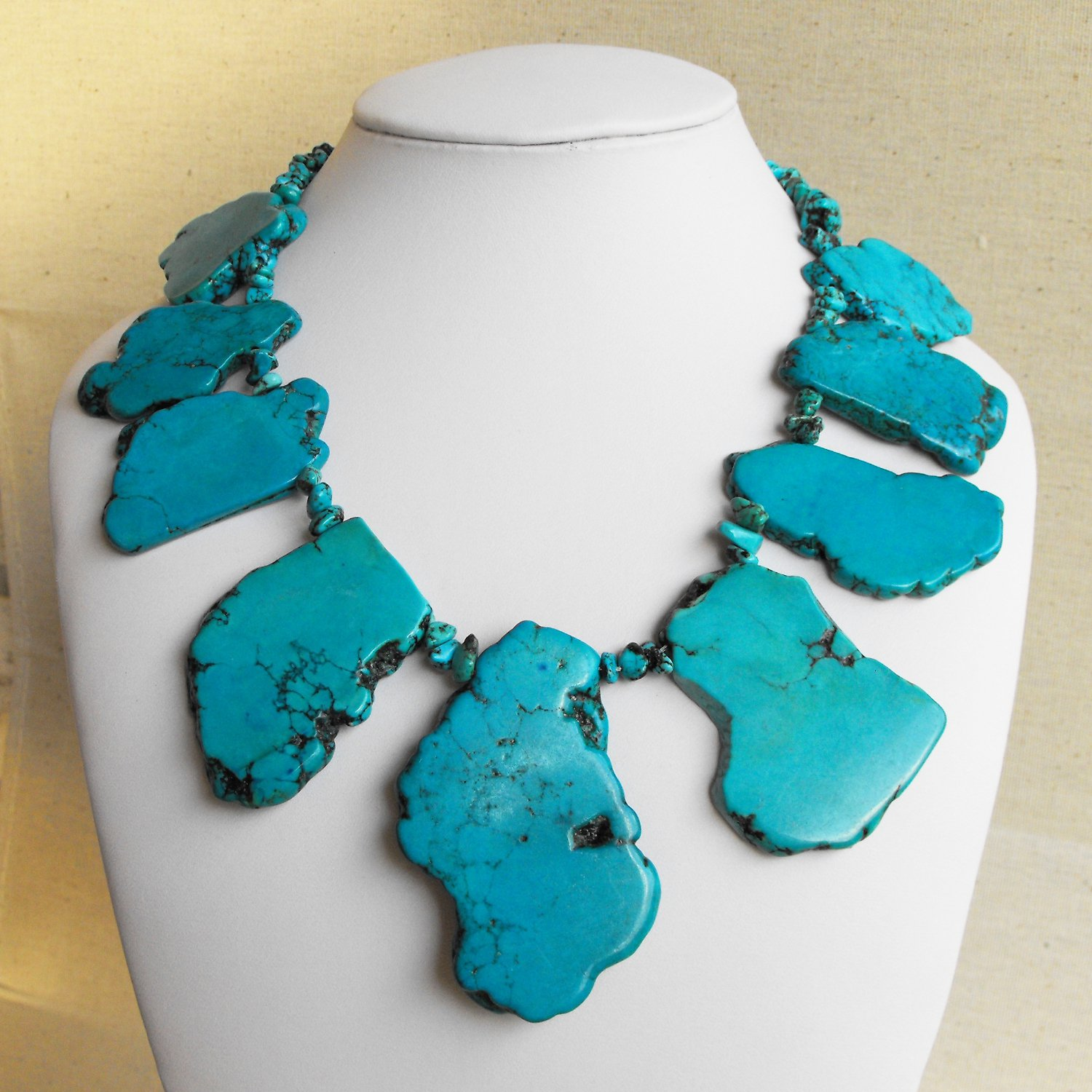 Emily III - Super Chunky Natural Freeform Turquoise Slab Statement Necklace