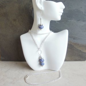 Joanne - Super Long Blue Beaded Dangle Necklace and Earrings