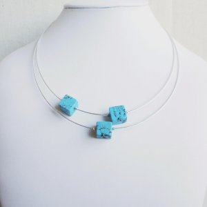 Turquoise Triple Cube Necklace Asymetric