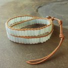 Amazonite Beaded Leather Double Wrap Bracelet