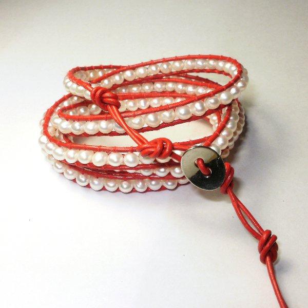 Beaded Leather 5 Wrap Bracelet Fresh Water Pearl Woman