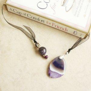 Purple Amethyst Gemstone Beaded Bookmark Jewel Book Thong