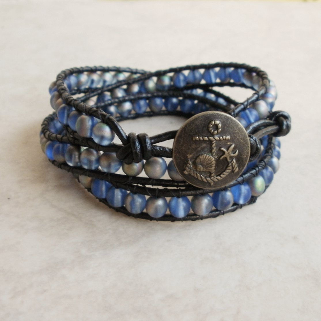 Frosty Blue and Silver Beaded Leather 3 Wrap Bracelet