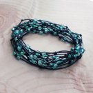 Turquoise Seed Beaded Birds Nest Leather Wrap Bracelet