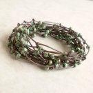 Green Turquoise Seed Beaded Birds Nest Leather Wrap Bracelet