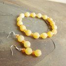 Yellow Citrus Dream Frosted Dragon Vein Agate Bracelet and Earring Set