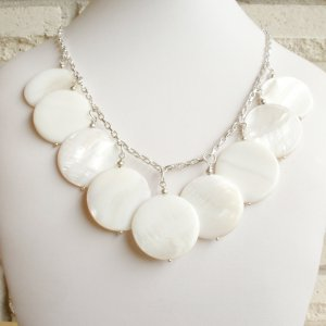 Jennifer - White Natural Mother Of Pearl Necklace and Earring Set