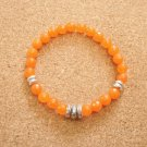 Unisex Orange Topaz and Silver Beaded Bracelet