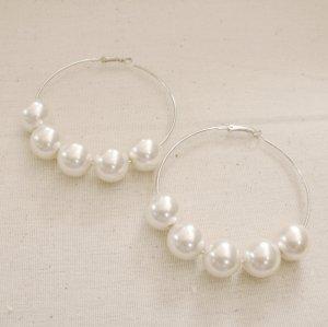 Giant Pearl Hoop Earrings