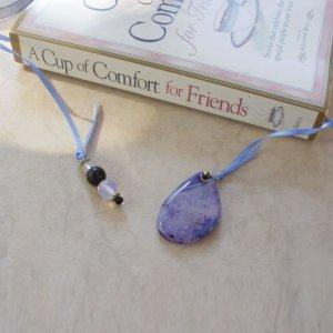 Purple Geode Agate Beaded Bookmark Jewel Book Thong