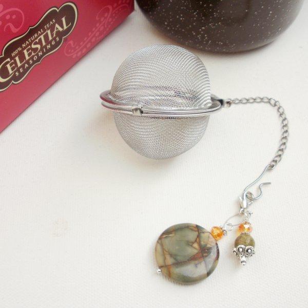 Tea Ball Infuser Strainer Steeper Gemstone Beaded Picasso Jasper