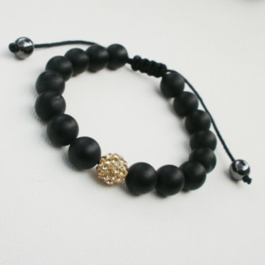 Black Matte Onyx and Gold Crystal Bracelet Adjustable