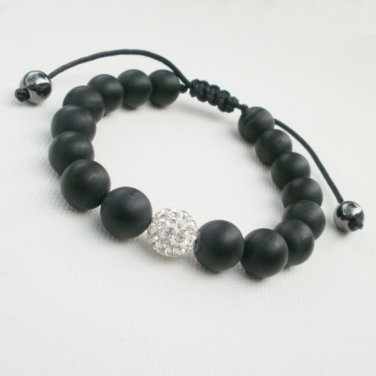 Black Matte Onyx and Silver Crystal Bracelet Adustable