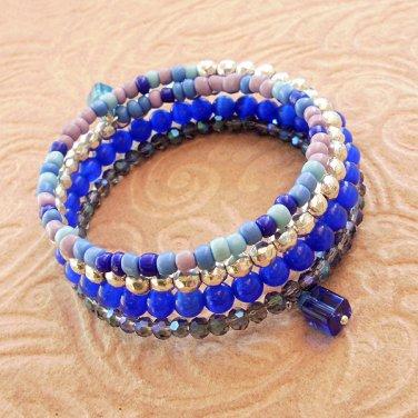 Bright Blue Multi-Layer Glass and Cat's Eye Beaded Bracelet