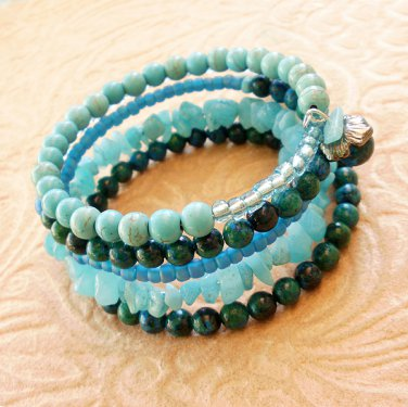 Turquoise Multi-Layer Glass and Amzonite Beaded Bracelet