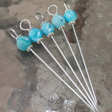 Druzy Agate Beaded Party Appetizer Martini Picks Set of 5