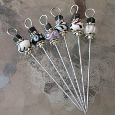 Lampwork Glass Beaded Party Appetizer Picks Set of 6
