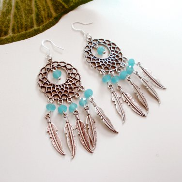 Silver Dreamcatcher Chandelier Dangle Earrings Turquoise Crystal Glass