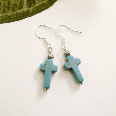 Small Turquoise Stone Cross Earrings