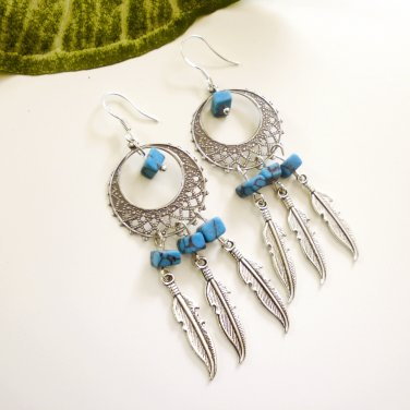 Silver Dreamcatcher Chandelier Dangle Earrings Turquoise Petite