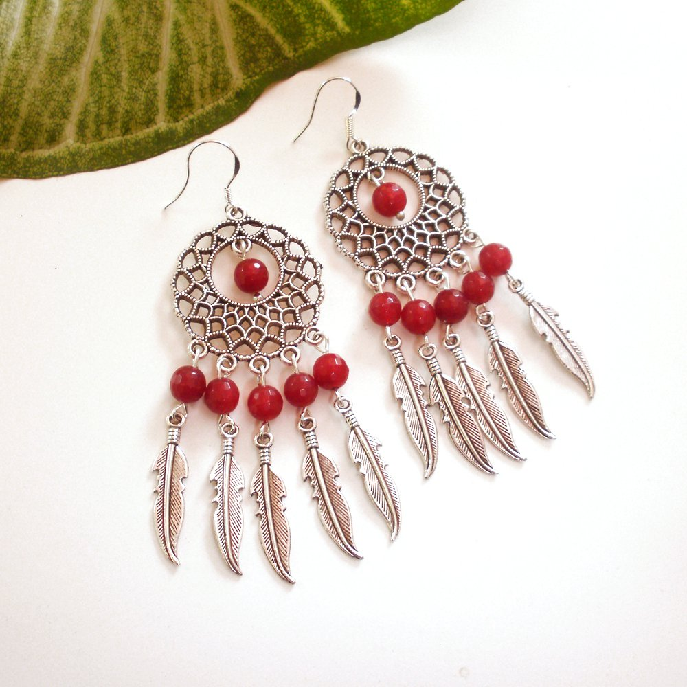 Silver Dreamcatcher Chandelier Dangle Earrings Red Agate