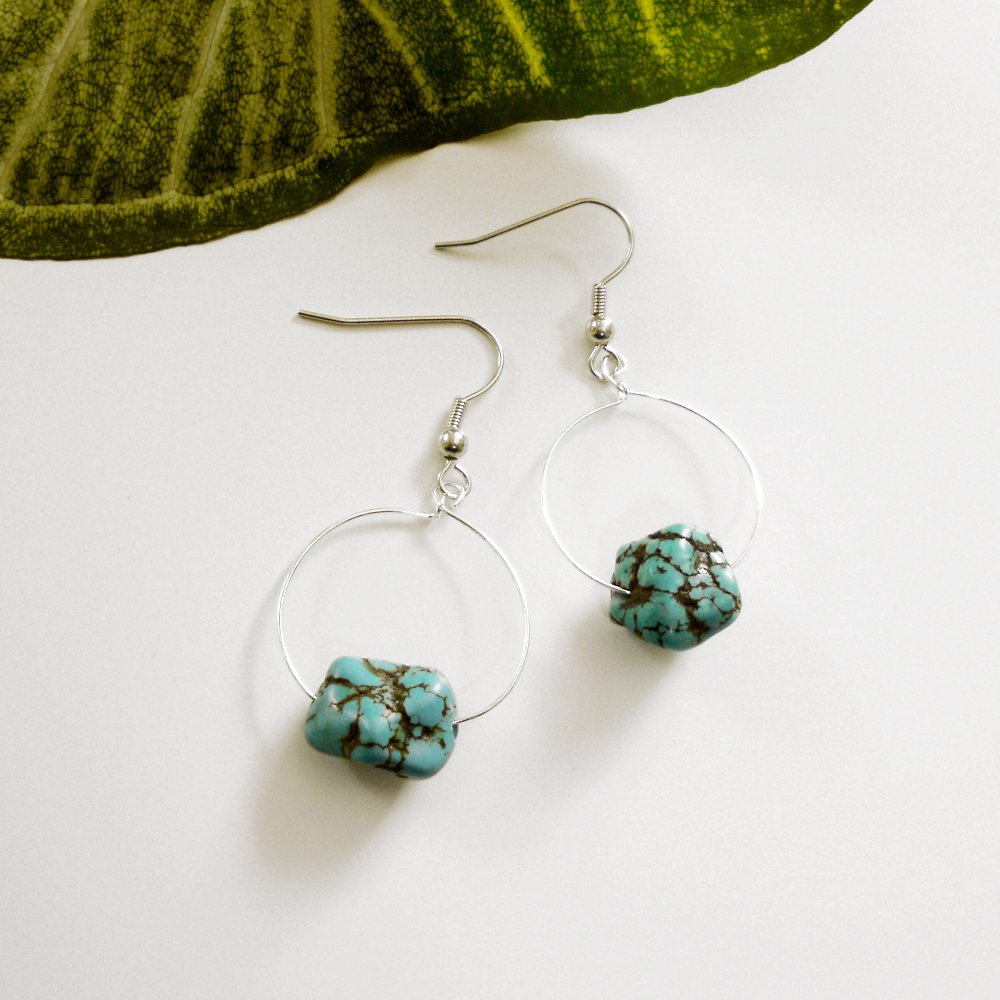 Silver Hoop Earrings with Turquoise Nugget Beads