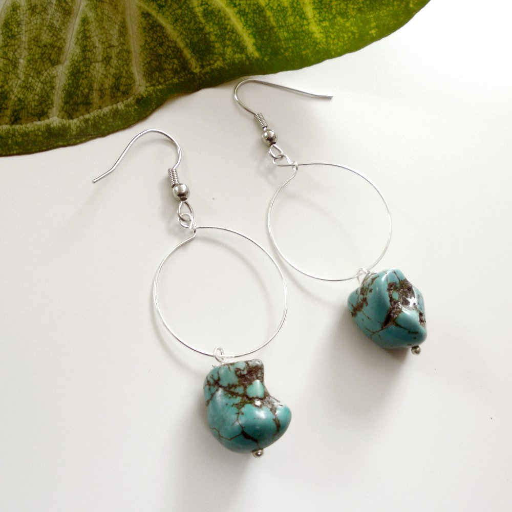 Silver Hoop Dangle Earrings with Turquoise Nugget Beads
