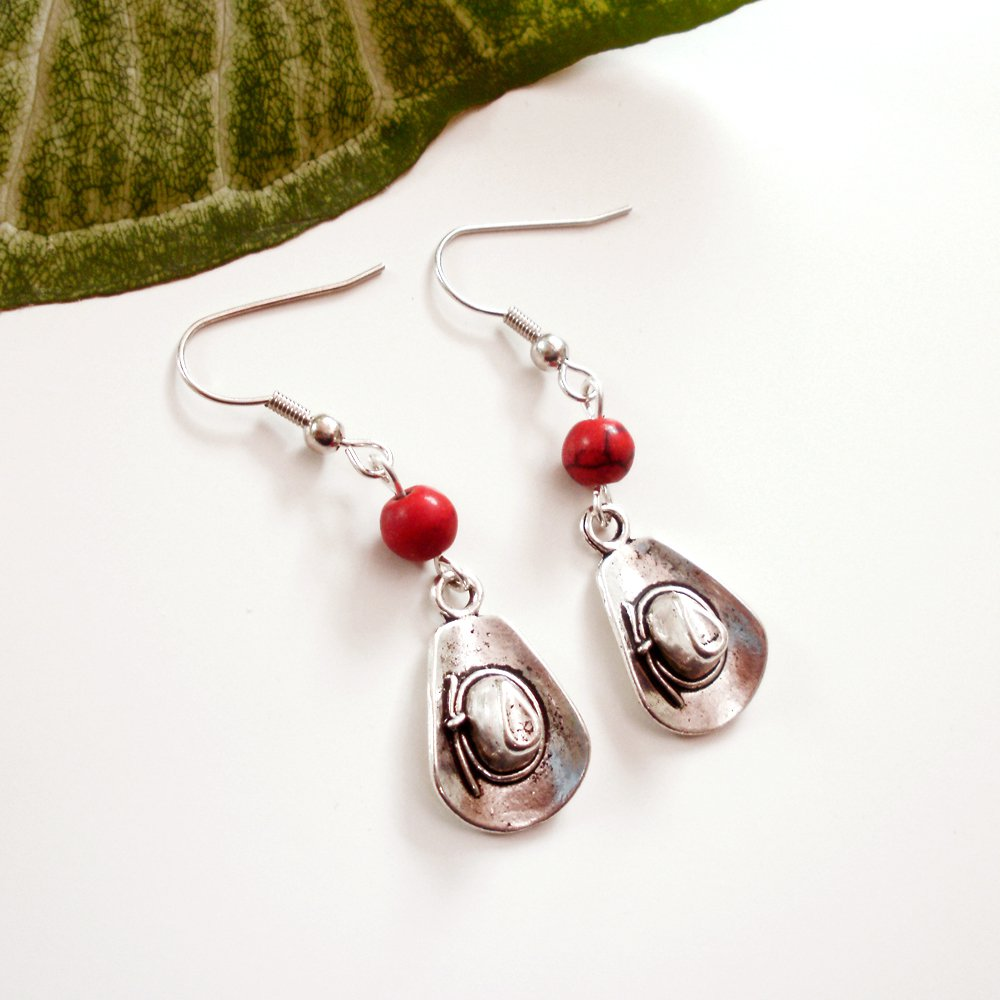 Silver Cowboy Hat Earrings with Red Stone Beads