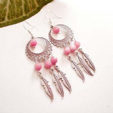 Silver Dreamcatcher Chandelier Dangle Earrings Rose Quartz Petite