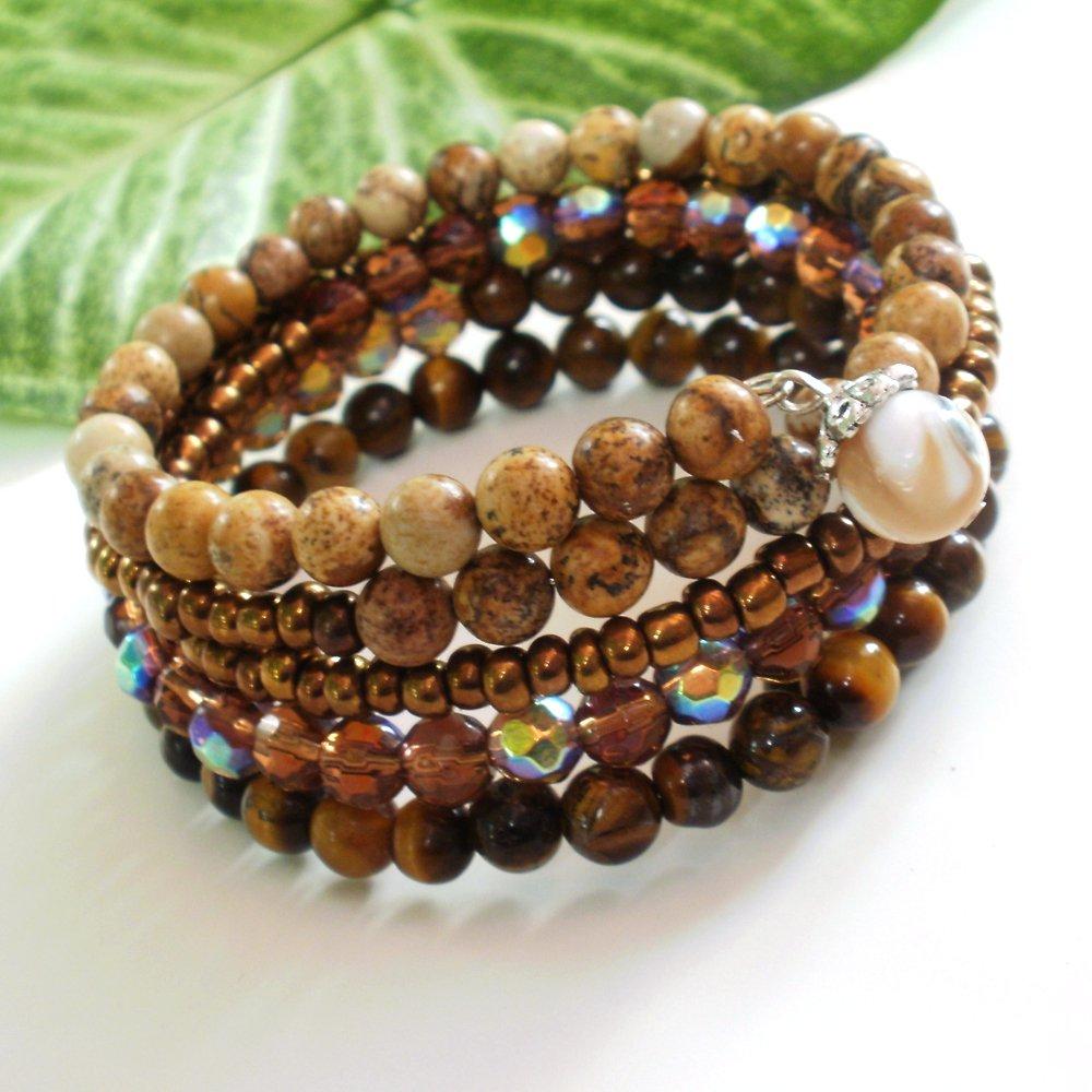 Bronze Multi-Layer Jasper Tiger Eye Beaded Wrap Bracelet
