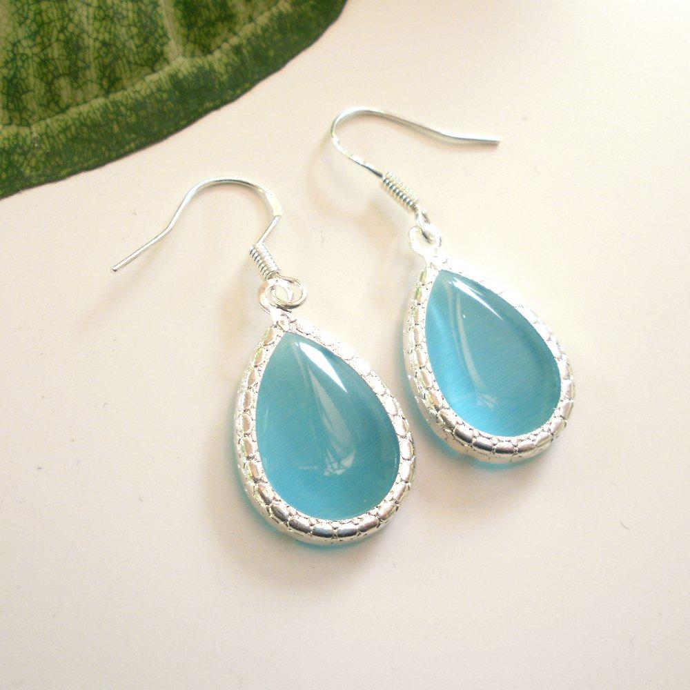 Aqua Sea Foam Color Glass Dangle Earrings