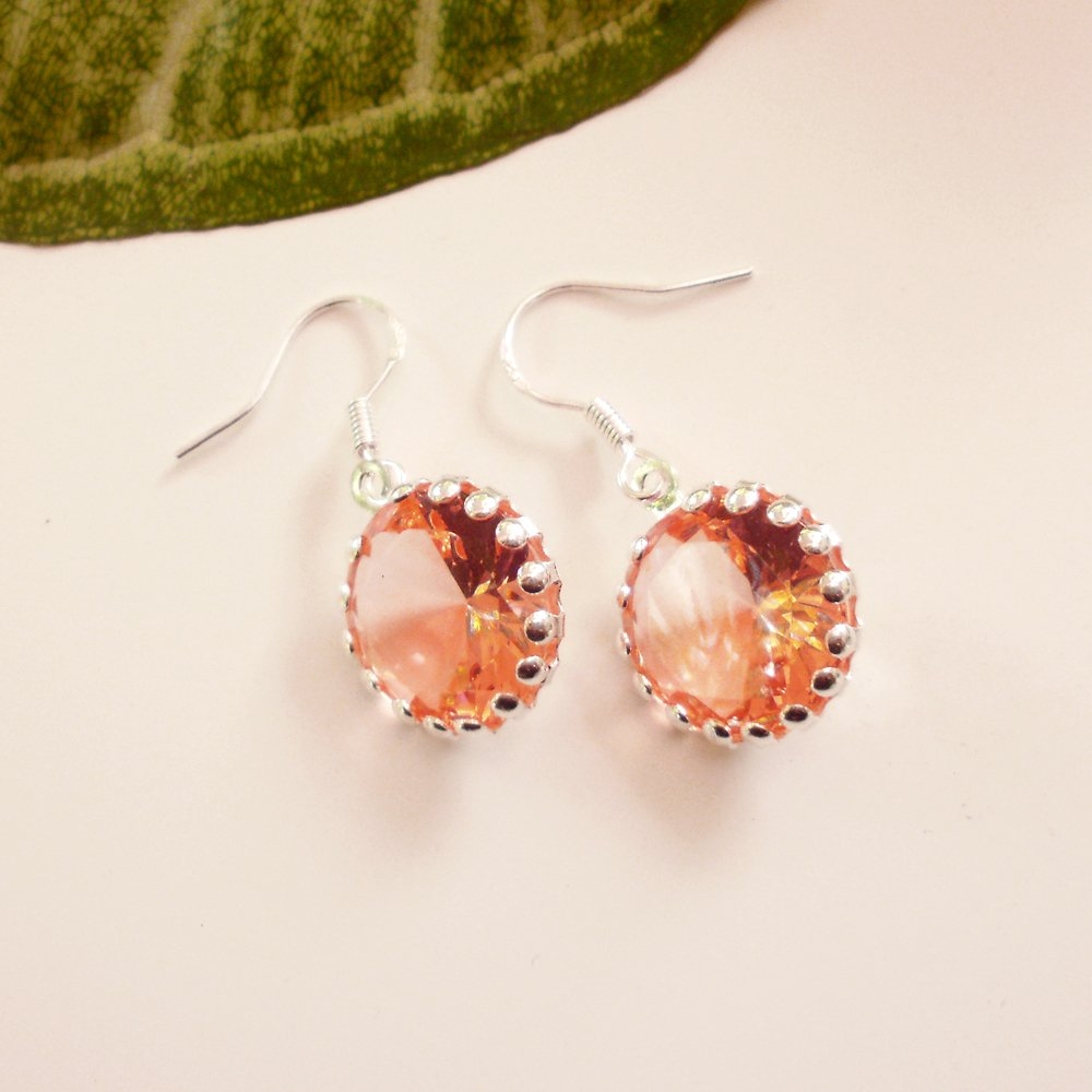 Peach Color Crystal Glass Dangle Earrings