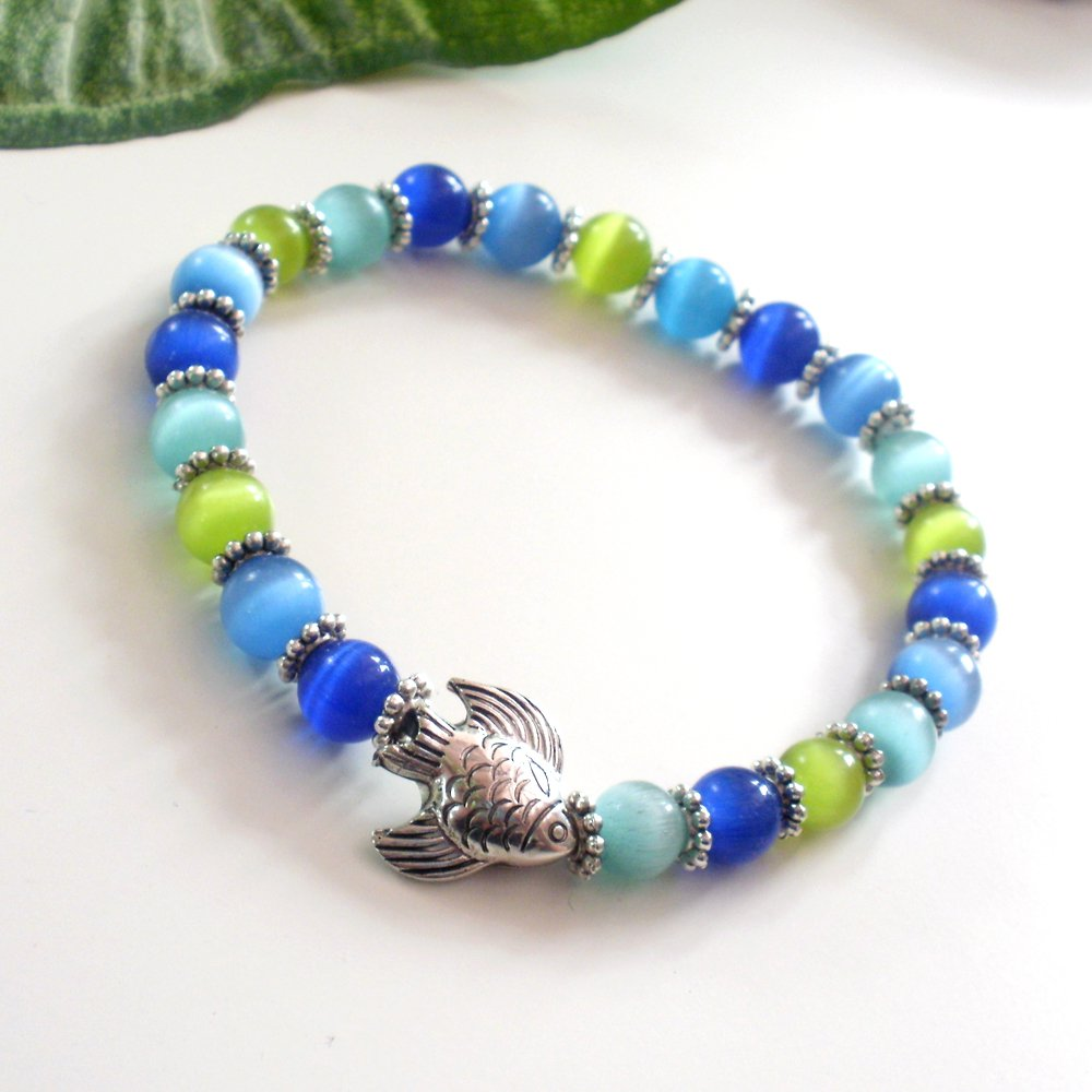Ocean Green and Blue Cats Eye and Fish Glass Bracelet
