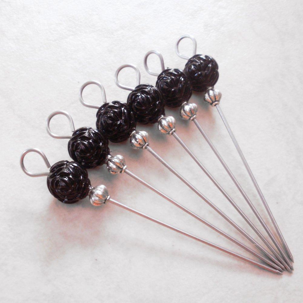 Beaded Party Appetizer Picks Black Rose Set of 6