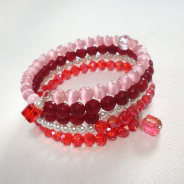 Cherry Red Multi-Layer Glass and Cat's Eye Beaded Wrap Bracelet