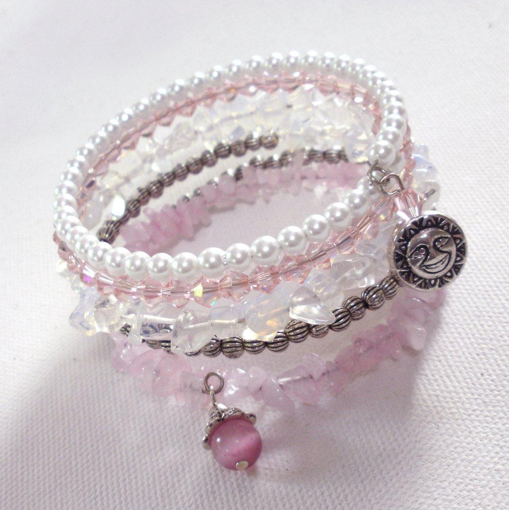 Rose Garden Multi-Layer Glass and Rose Quartz Beaded Wrap Bracelet