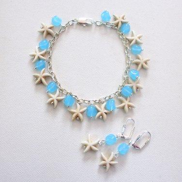 Starfish Sea Star Bracelet and Earring Set