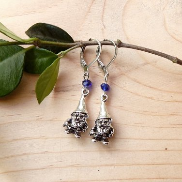 Mini Garden Gnome Earrings with Crystals Blue