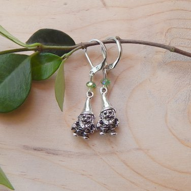 Mini Garden Gnome Earrings with Crystals Green