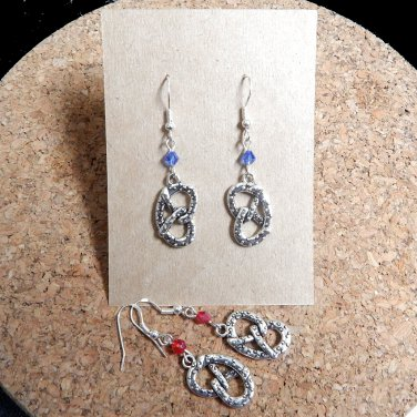 Bavarian Pretzel Earrings with Glass Crystals